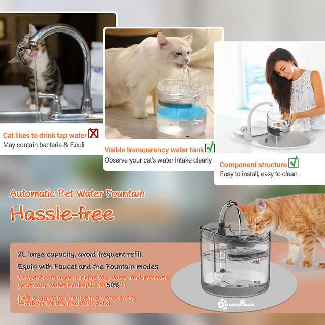 DownyPaws 2L Automatic Cat Water Fountain With Faucet Dog Water Dispenser Transparent Filter Drinker Pet Sensor Drinking Feeder 5