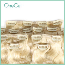 Full Head Clip In Human Brazilian Hair Extension Machine Made Body Wave 100% Remy Hair Hairpins Natural Pure Color Clip Ins