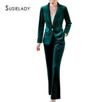 SUSIELADY Women Velvet Blazer Pantsuits One Button Office Work Corduroy Suits Women Trouser Suits Sets Two Pieces Suits