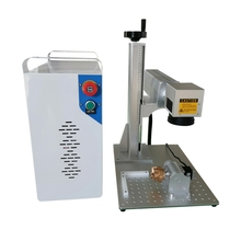 20W 30W Raycus laser source add rotary split Fiber Laser Marking Machine for metal plastic stainless steel jewelry