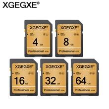 Cartão de memória xmxxe 64gb 32gb, classe 10 alta velocidade 4gb 8gb 16gb UHS-1 profissional cartão flash para câmera