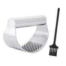 Изогнутая дробилка из нержавеющей стали для измельчения серебряного чеснока пресс с щеткой Мясорубка прочный кухонный имбирь легко чистить ручные инструменты