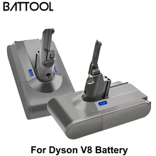 Battool 2Piece V8 6000mAh 21.6V Battery For Dyson V8 Battery Absolute V8 Animal Li-ion Vacuum Cleaner Rechargeable Tools Battery 2pcs lq s1 battery for smart watch dz09 w8 a1 t8 x6 qw09 v8 x6 dj 09 battery lq s1 3 7v 380mah li po rechargeable battery cells