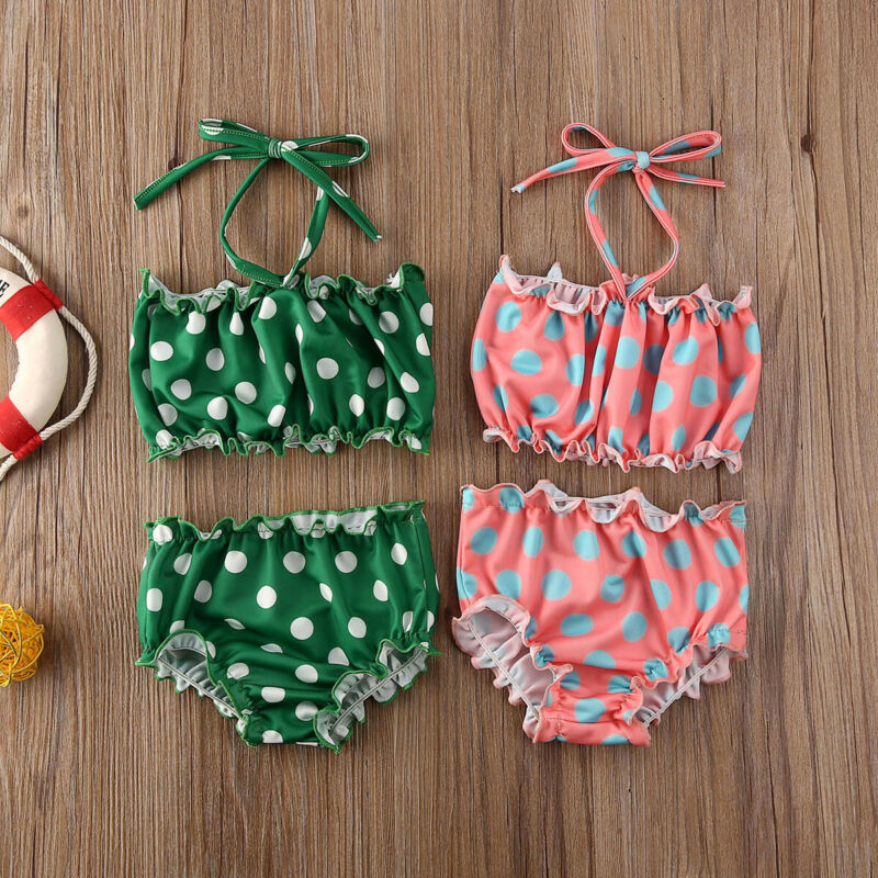 2020 Baby Girls Swimsuit Summer Polka Dots Print Sleeveless Bikini High Waist Polka Dot Ruffled Trim Swimwear Bathing Bikini Set