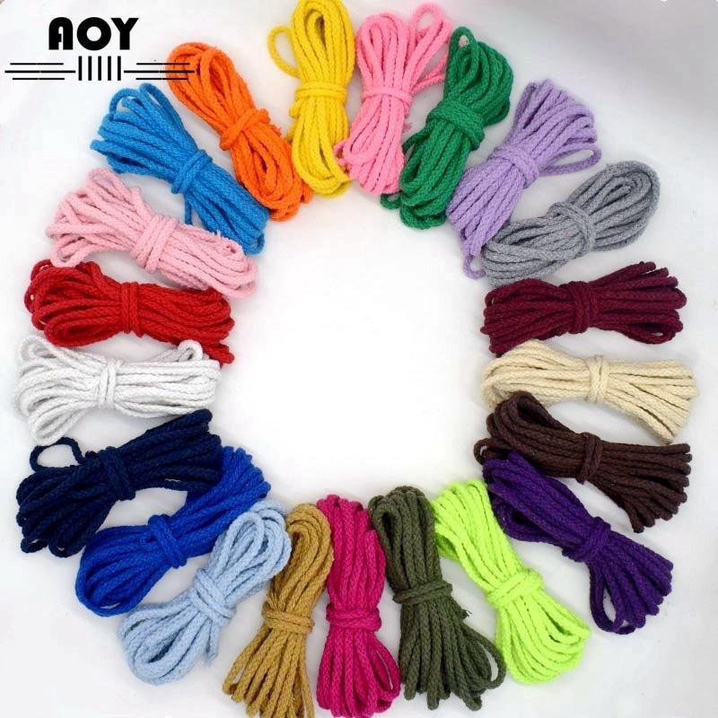 Хлопковая веревка 5 мм, декоративный витой круглый шнур для рукоделия, шитье ручной работы, домашний текстиль, нить, шнуры