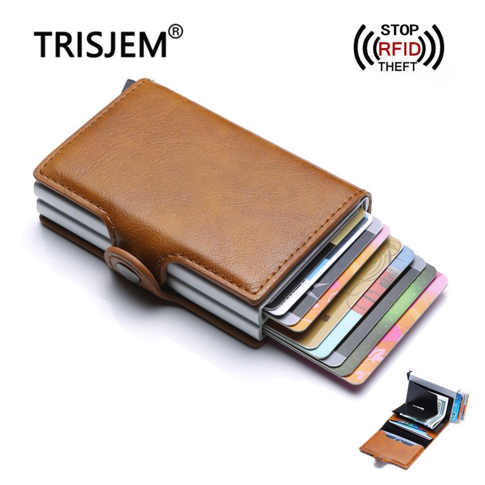 Men Smart RFID Blocking Protection Slim Card Holder Wallet Hasp Rfid Wallets Aluminum Credit Card Holder Case Purse