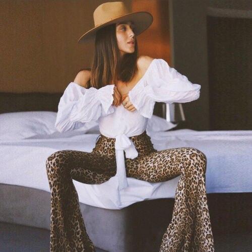 Newest Trendy  Fash Lady Loose Women Animal Leopard Print Trousers High Waist Female Flares Pants Fashion Street Wear One Piece