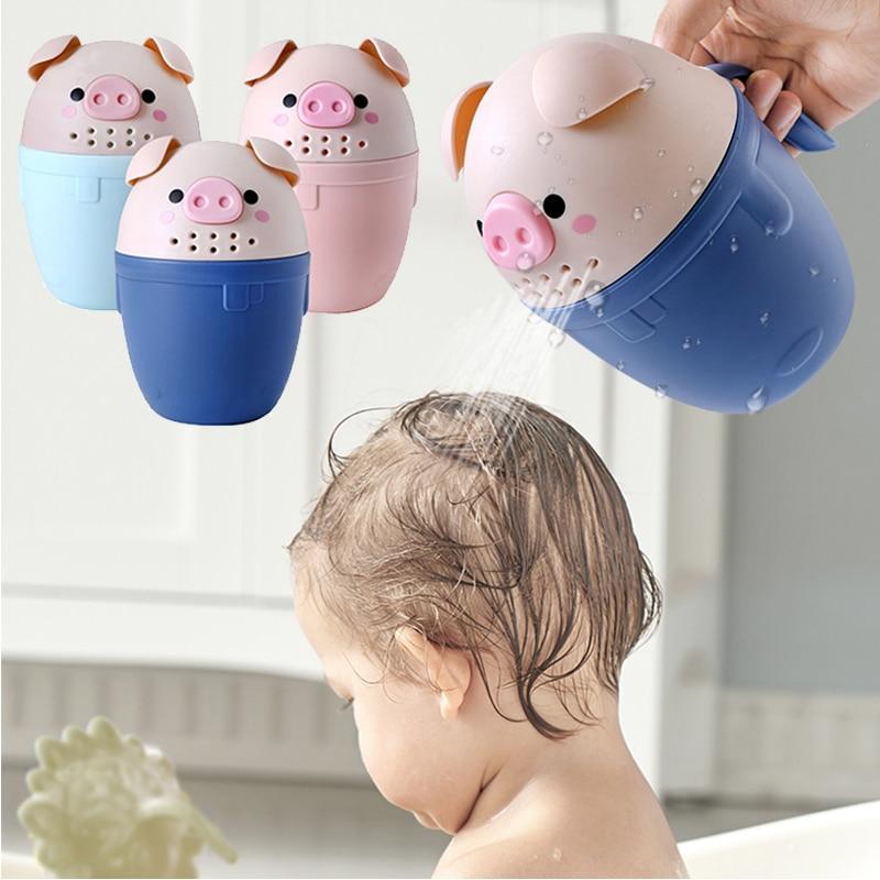 Crianças ferramenta de banho porco dos desenhos animados bebê tampões de banho bonito toddle shampoo copo crianças banho bailer colheres de chá de bebê lavagem copo de cabelo