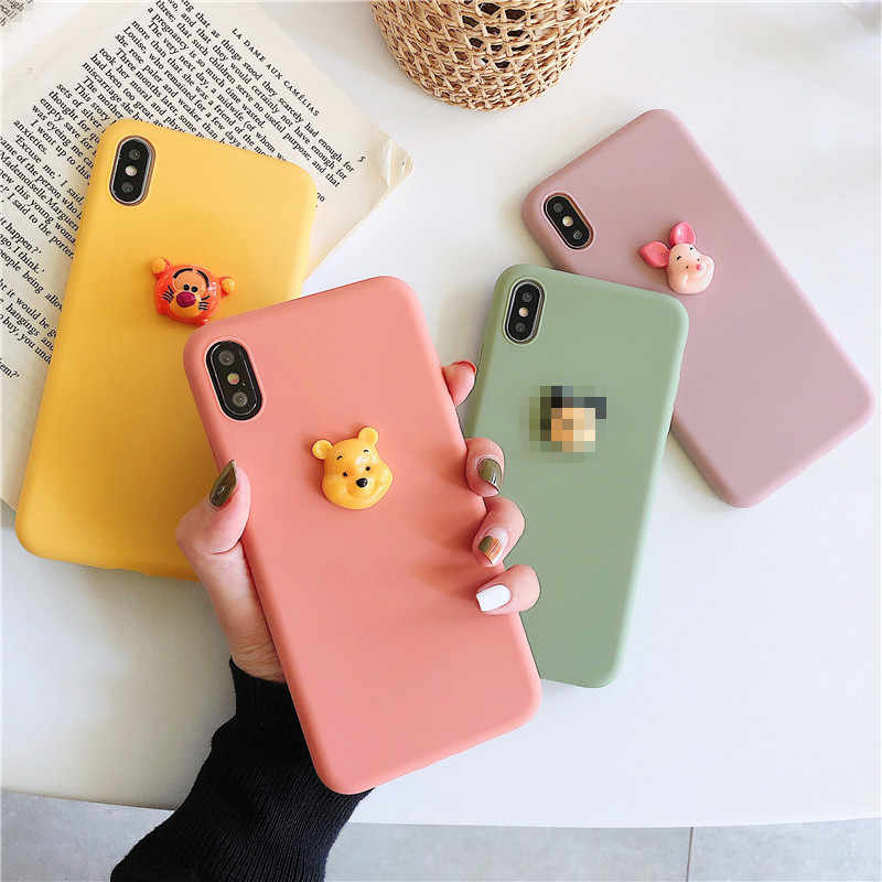 3D Cute Cartoon Bear Panther Candy color Phone case For coque iPhone 7 6 6s 8 Plus 11 Pro XS Max X XR kawaii case silicone cover