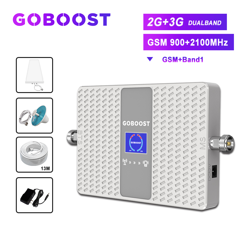 Gsm 2g Cellular Signal Amplifier 3g Booster 2100 Umts 2g Gsm 900 Mobile Signal Amplifier Kit Cell Booster 2g 3g Dual Band 70dB