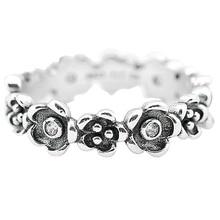 Auténtico anillo de Plata de Ley 925 joyería fina banda de flores Vintage con anillos de cristal para mujeres regalo de fiesta de boda joyería fina