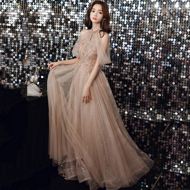 Champagne Prom Dresses  Halter  Dresses Woman Party Night  Floor-Length  Beading  Prom Dress  A-Line  Evening Dresses 5