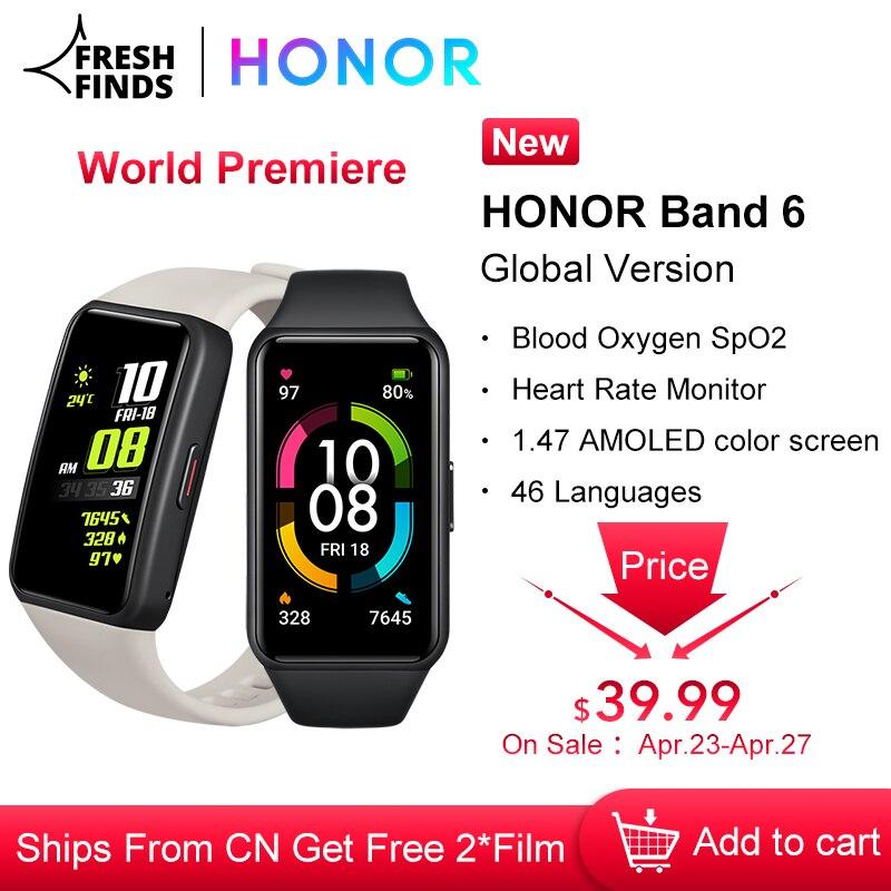 Оригинальная глобальная версия HONOR Band 6 часы браслет умные часы, отображающие сердцебиение уровень кислорода в крови, активно-матричные оси...
