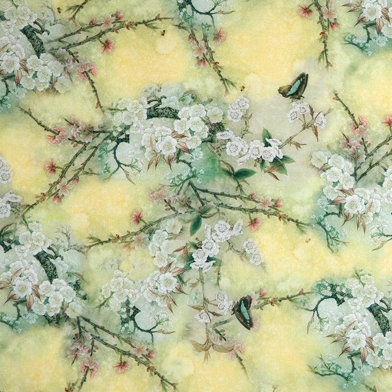 Antique butterfly dance silk fabric printing mulberry silk cheongsam dress fabric real silk elastic satin
