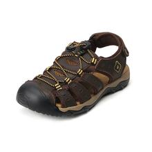 Odkryte kapcie plażowe męskie sandały prawdziwej skóry wołowej męskie letnie buty na co dzień zamszowe sandały Plus rozmiar 48 tanie tanio JUMPMORE CN (pochodzenie) Skóra bydlęca Podstawowe Mesh LEISURE RUBBER Gumką Mieszkanie (≤1cm) Pasuje prawda na wymiar weź swój normalny rozmiar