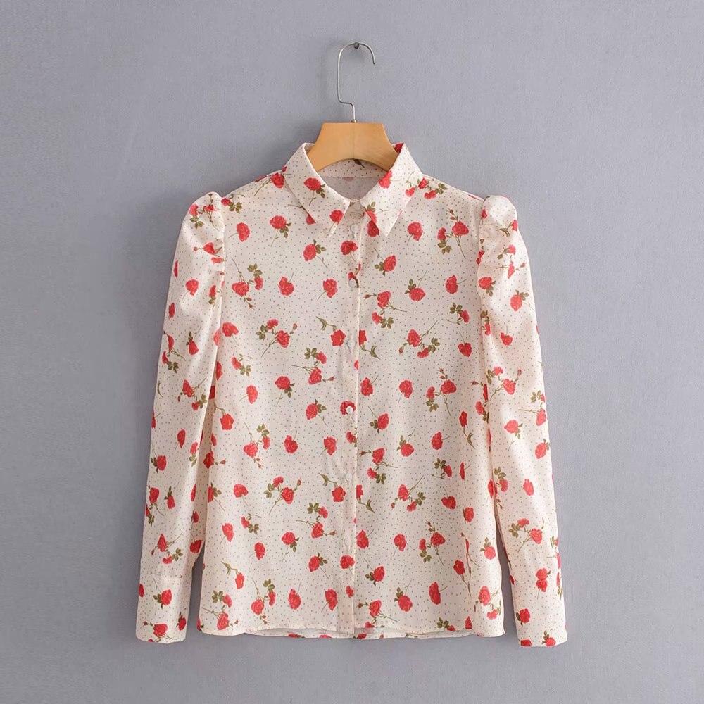 2019 New Women Sweet Flower Print Dot Blouses Female Puff Sleeve Casual Shirt Autumn Long Sleeve Blusas Chic Chemise Tops LS4035