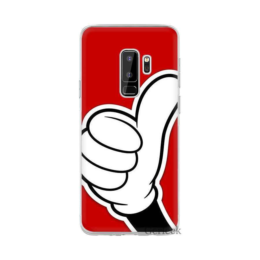 Cassa del telefono Per Samsung Galaxy J1 J2 J7 J5 J6 J3 Prime Duro Della Copertura di Protezione Del Mouse di Mickey Gesto della Mano
