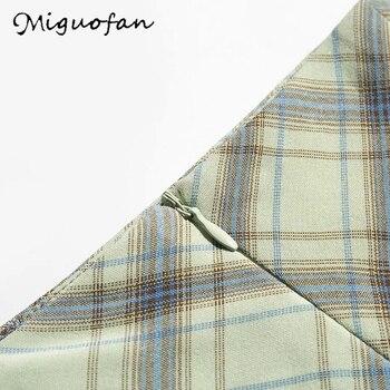 Miguofan green plaid printting skirts high split high waist Skirts for women high waist skirts vintage female  lady spring 2020 10