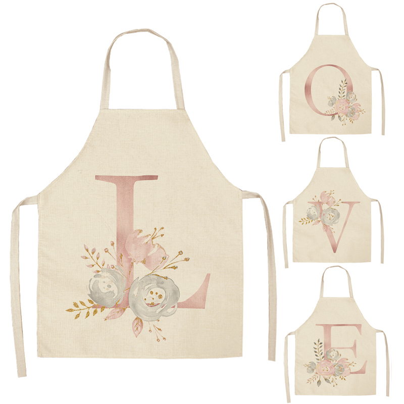 1 Pcs Pink Letter Flower Cotton Linen Aprons Home Cooking Baking Coffee Shop Cleaning Apron Kitchen Accessories