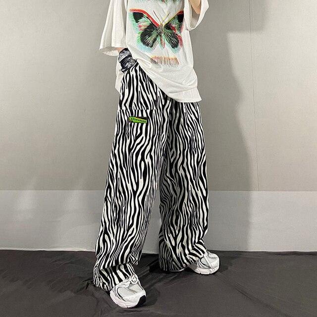Zebra stripes pattern Trousers Loose High Waist Waist Thin Straight Printing Wide Leg Women s pants Casual Women pants joggers
