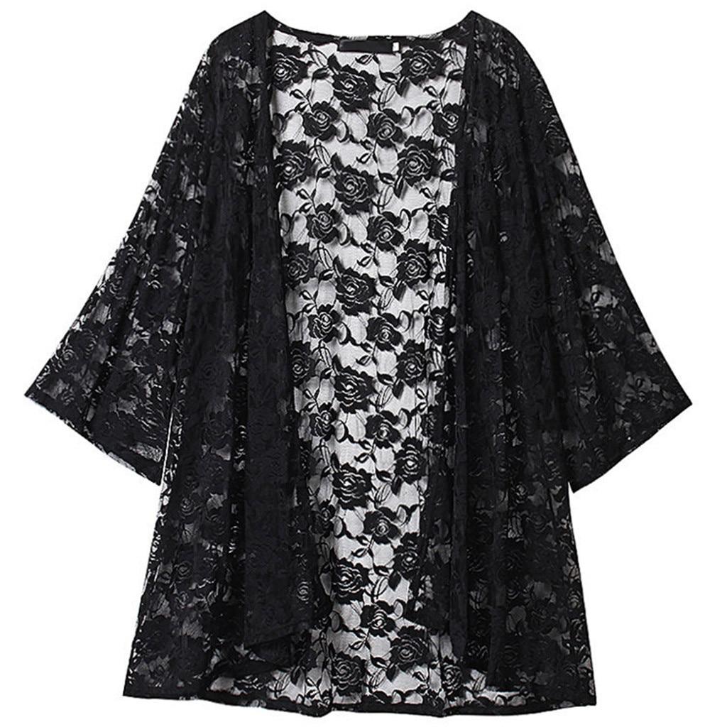 358.0руб. 18% СКИДКА|Элегантный винтажный кардиган кимоно, Женская кружевная рубашка с вышивкой, Пляжная Солнцезащитная одежда, кардиган размера плюс, женская блузка|Блузки и рубашки| |  - AliExpress