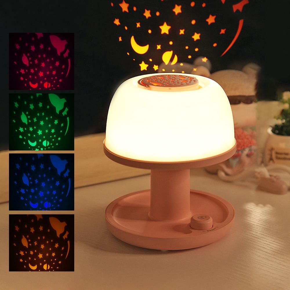 Creative Night Projection Lamp USB Powered 1200mah/2000mah Cherry Powder / Mint Green Night Light Bedroom For Baby Kids Sleep