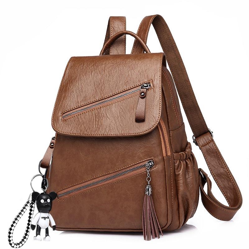 Tassel Soft Pu Leather Backpack Female Litthing Waterproof Vintage Back Pack Women Black Brown Ladies Bagpack Youth High Quality
