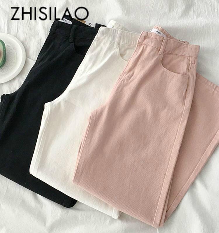 Solid Loose Wide Leg Straight Mom Jean Women Vintage High Waist Denim Pant Summer 2020 White Pink Boyfriend Jean Plus Size