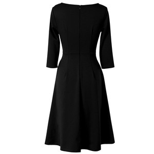 Image 5 - Vfemage Womens Autumn Elegant Pleated Keyhole Neck Pockets Work Business Office Casual Party Fit Flare Skater A Line Dress 5113