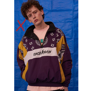 Image 4 - Vintage Harajuku Pullover Giubbotti Hip Hop Stampa Floreale 2020 Autunno Zip Giacca A Vento Giacca Patchwork Streetwear Fiori di Grandi Dimensioni