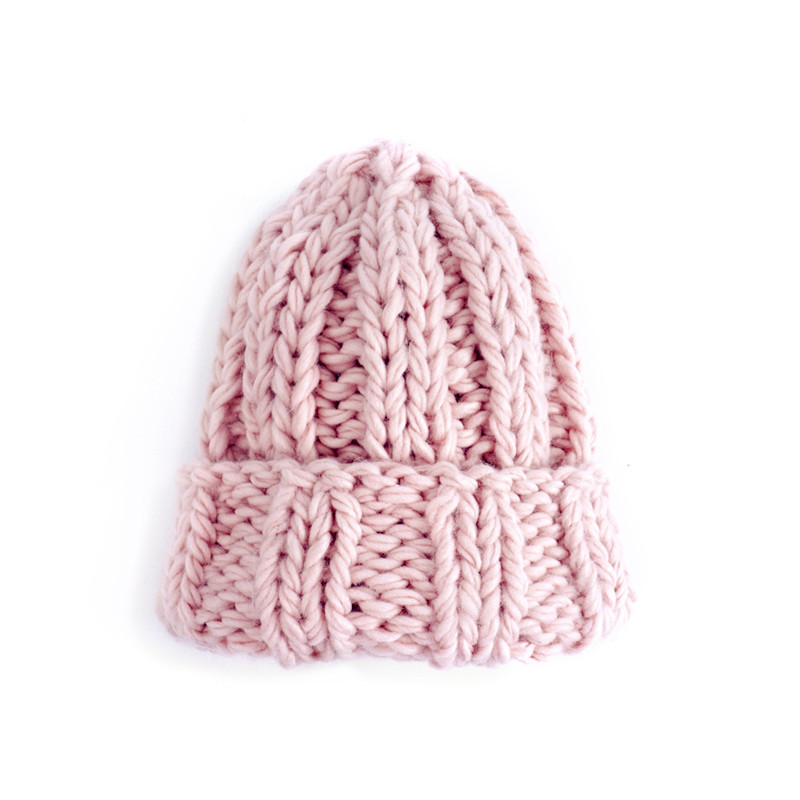 Women Winter Knitted Beanies Hat Thick Soft Warm Coarse Large Knitted Solid Hat Female Ice Ski Bonnet Skullies Beanies Hat Cap 214