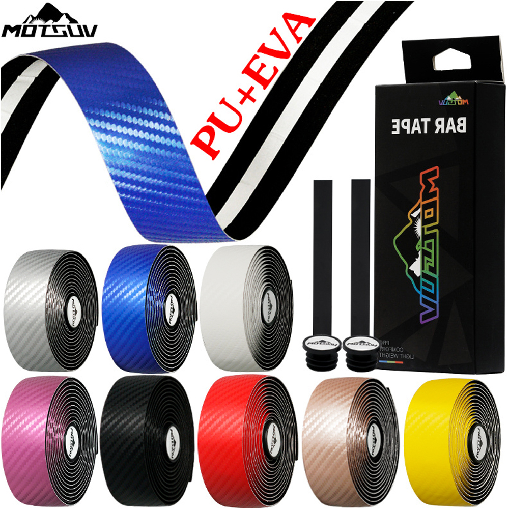 MOTSUV Road Bicycle Handlebar Carbon Fiber Pattern EVA PU Bar Tape Soft Cycling Damping With 2 Bar Plug Anti-slip Shock straps