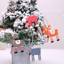 Zocdou 1 peça novo natal de madeira elk pingente ornamentos da árvore de natal decoração de natal suprimentos cor veados ornamentos
