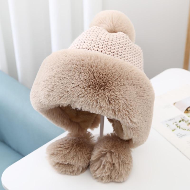 Winter Women's Bomber Hat with Pompom Ponytail Faux Fox Fur Earflap Hats Warm Soft Russian Ushanka Thicken Trapper Snow Ski Cap