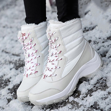 White Snow Boots Women Fashion Winter Warm Boots Ladies Lace Up Thick Fur Boots Comfy Chunk Heel Ankle Boots Black D30