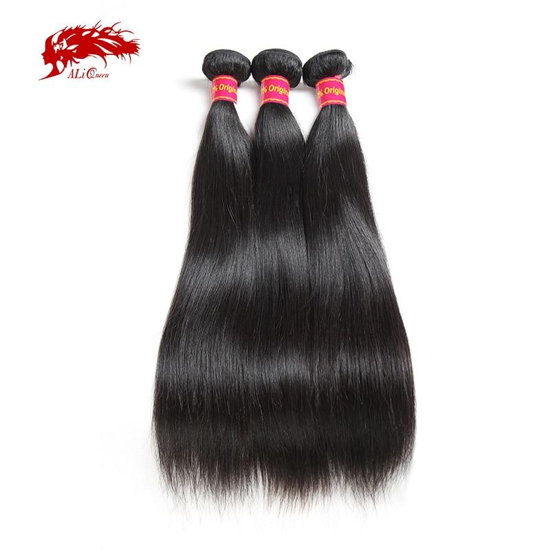 Ali Queen Hair 3 шт. бразильские необработанные натуральные волосы, волнистые пряди 8 ~ 30 дюймов, прямые волосы натурального цвета, необработанные ч...