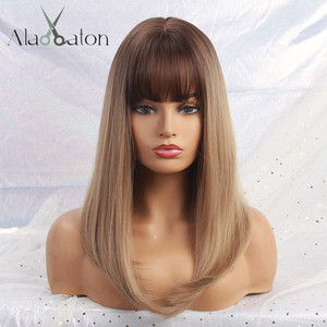 Image 5 - אלן איטון ארוך ישר סינטטי שיער פאות לנשים שחורות האפרו Ombre שחור חום אפר בלונדינית פאת קוספליי עם פוני שכבות