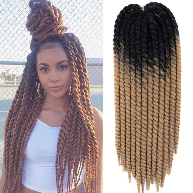 Brown Havana Twist Hair crochet braids 22 inch 120g heat resistant Fibe Ombre Synthetic Braiding Hair extensions 12 strands/pcs