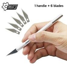 Não deslizamento de metal bisturi faca ferramentas kit cortador de gravura facas de artesanato + 6 pçs lâminas do telefone móvel pcb diy reparação ferramentas manuais