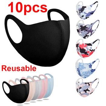 10pcs Face Mask Black Mouth Reusable Washable Mascarillas Shield Masque Facial