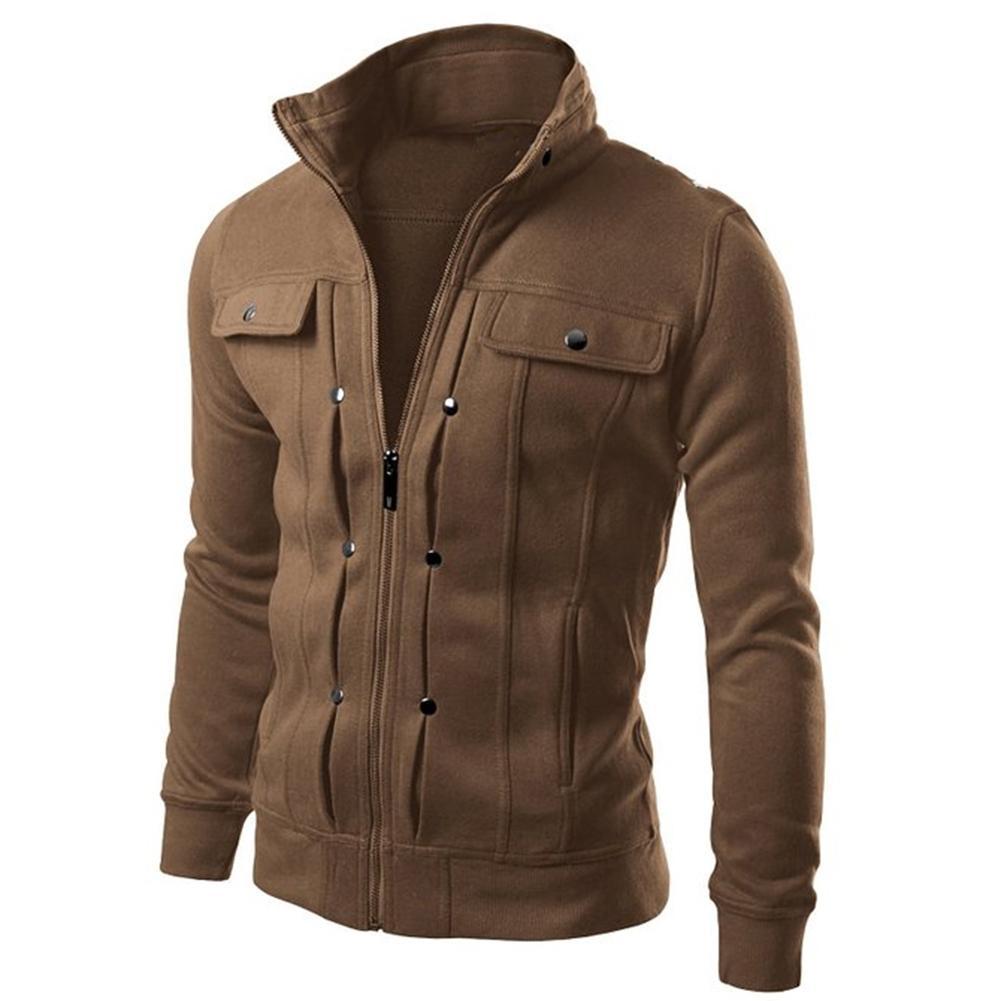 2019 Autumn Winter Men  Jacket Men Coat Warm Casual Jacket Zip Closure Button Buttoned Sweater Coat