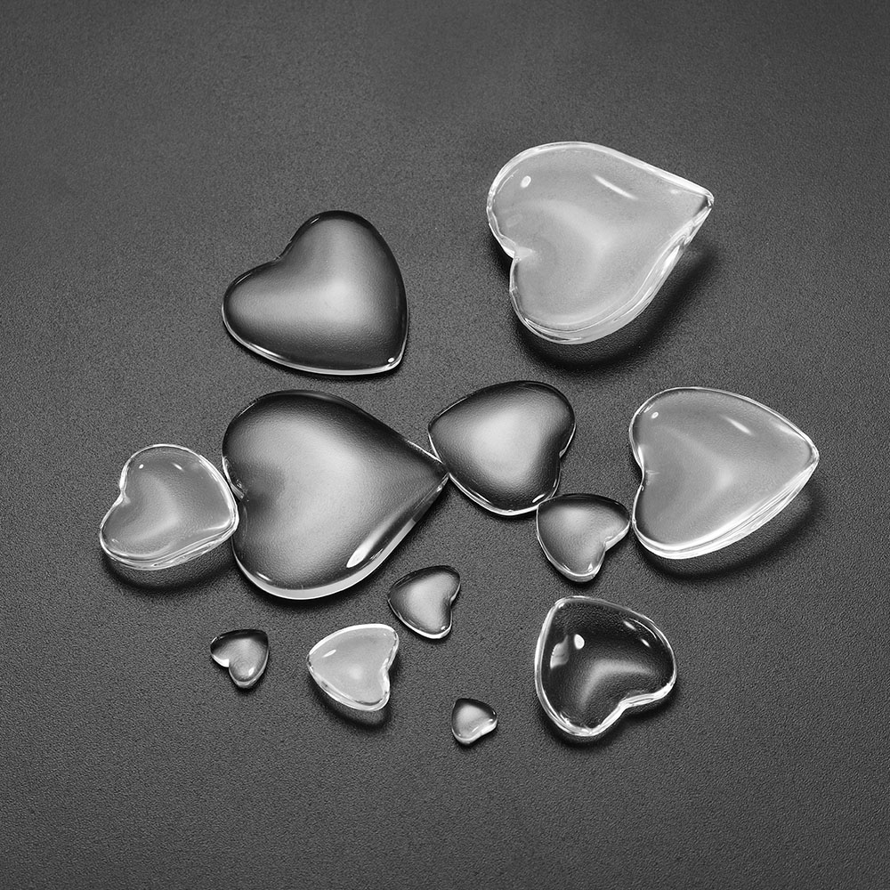 10-50pcs Heart Glass For Cabochon Cameo Setting 6-30mm Transparent Flat Back Glass For Bracelet Pendant Jewelry Making Supplies