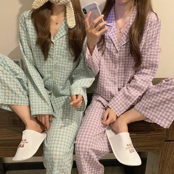 CAIYIER Green Grid Women Pajama Set Korean Style Loose Leisure Sleepwear Elastic Waist Pant Nightwear Spring Winter Home Clothin