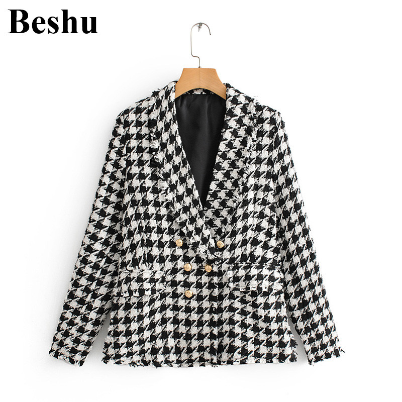 Za 2019 Coat Women Formal Black Houndstooth Blazer V-neck Long Sleeve Pockets Jacket Female Office Wear Coat Top