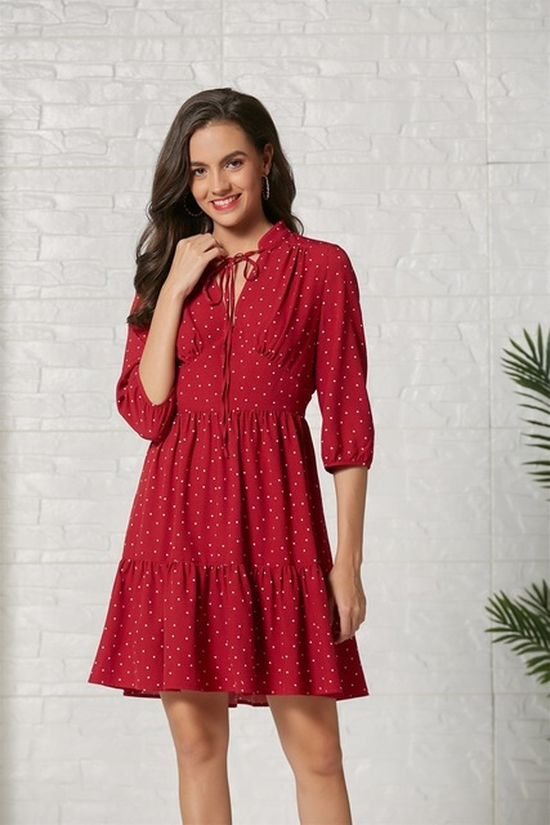 Dress Elegant Women 2019 Holiday Fashion Print Cropped Sleeve Dress V neck Women Clothes Dresses Woman Party Night Boho Style in Dresses from Women 39 s Clothing