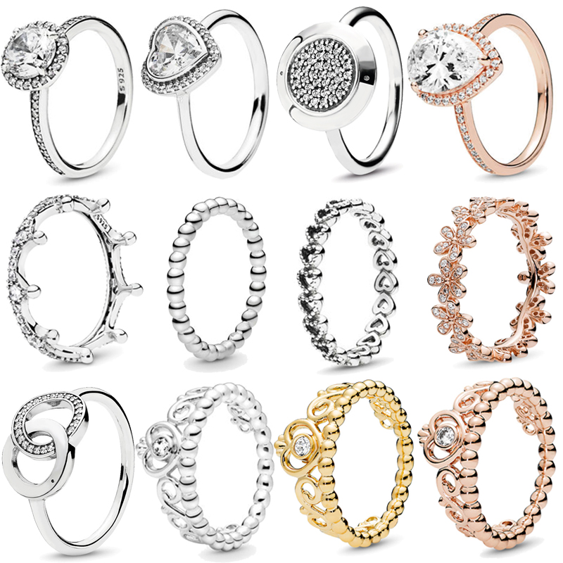 Corona princesa Tiara de Plata de Ley 925 auténtica, corazón brillante de amor, anillos de CZ para mujeres, joyería de compromiso de aniversario