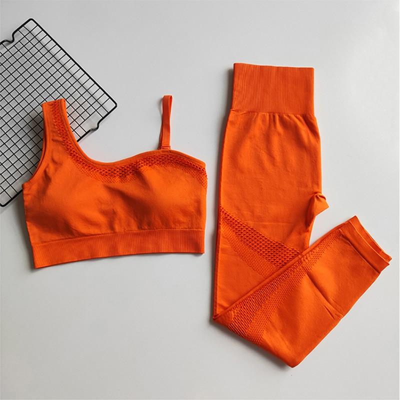 Бесшовный Набор для йоги, женская спортивная одежда, спортивная одежда, Леггинсы для йоги, мягкий спортивный бюстгальтер на одно плечо, 2 шт.,...