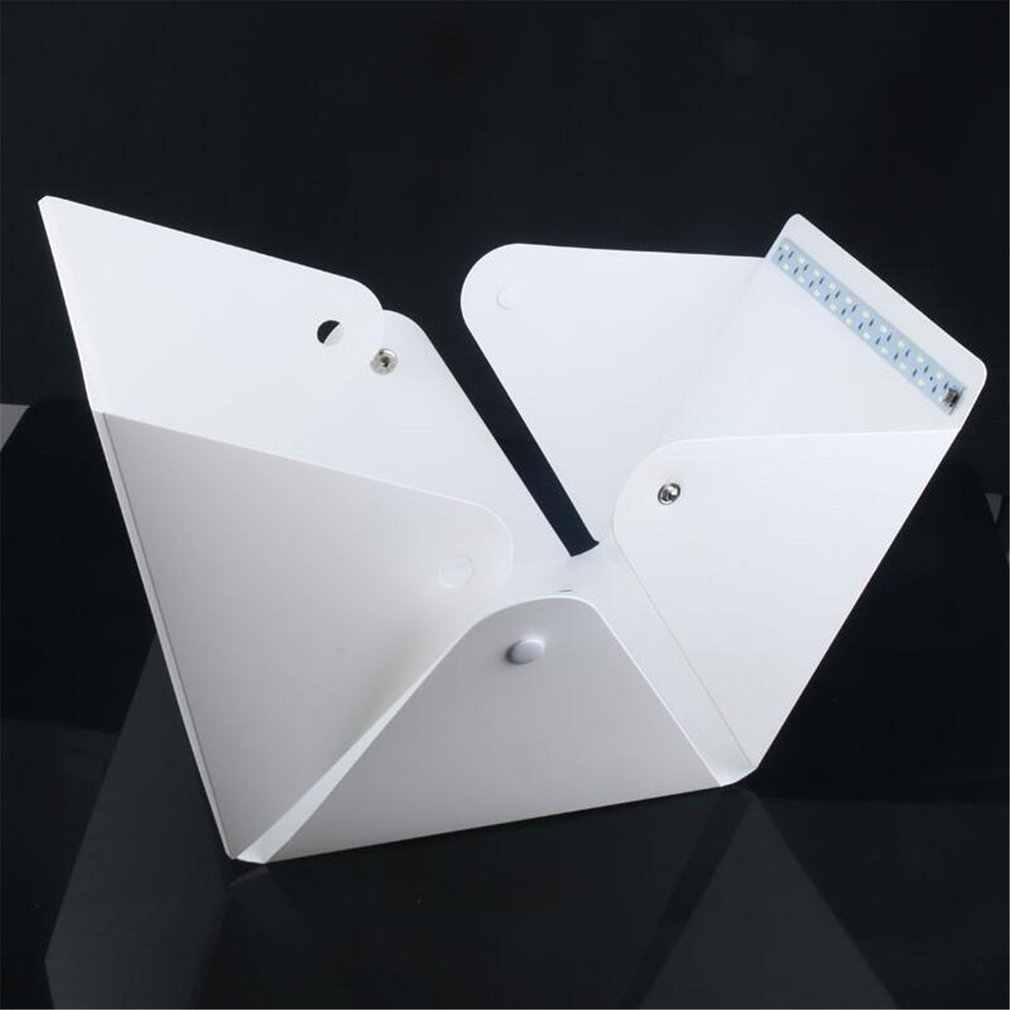 Mini katlanır Lightbox fotoğrafçılık fotoğraf stüdyosu Softbox LED ışık yumuşak kutu fotoğraf arka plan kiti ışık kutusu DSLR kamera için