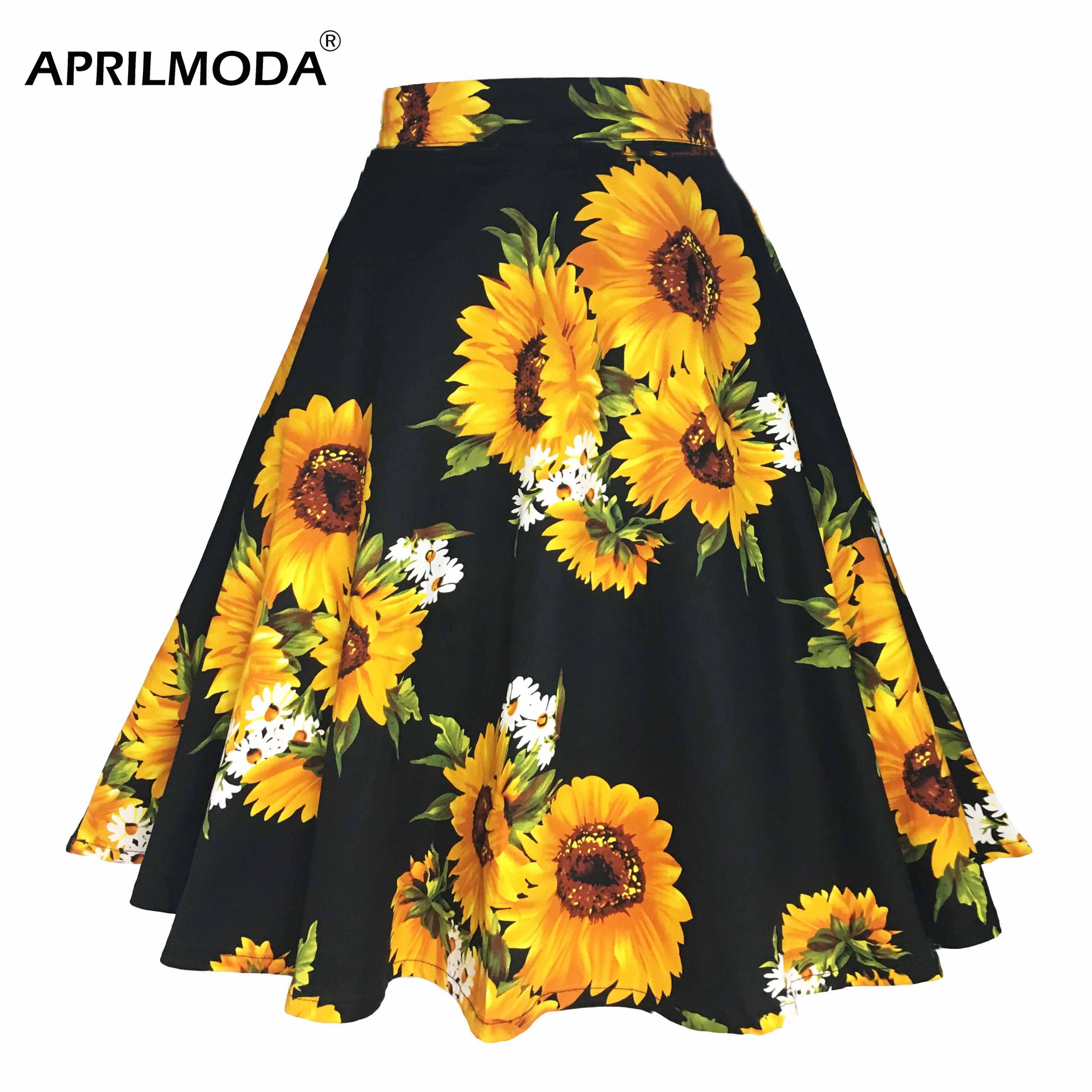 2019 Summer Vintage Casual Skirt Plus Size Floral Sunflower Printed Skater Skirts Swing Zipper Midi Women Pleated Retro Vestidos