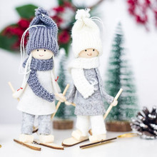 1pc Creative Kawaii Christmas Girl Ski Pendant Tree Cute Decoration For Home Xmas Doll Party Kids Gift